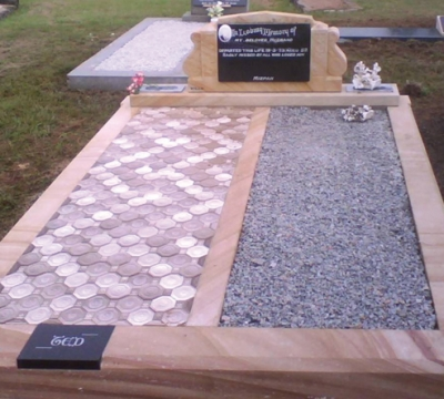 DG08 Sandstone - Special Scroll Headstone and Base - Shanxi Black Panel - Grey Chips - Ceramic Tiles
