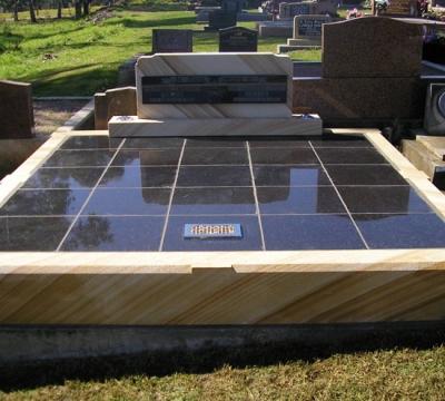 DG09 Sandstone - Special Double OG Headstone - Shanxi Black Panel - Black Pearl Tiles