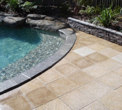 Yellow Rock Pavers Blue Stone Capping