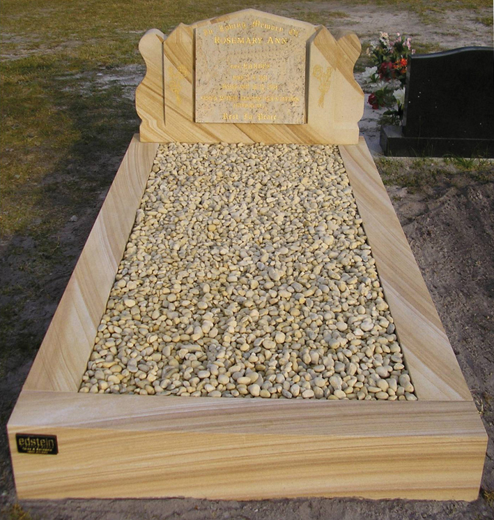 SG01 Sandstone - Special Scroll Headstone - Kashmir Gold Panel