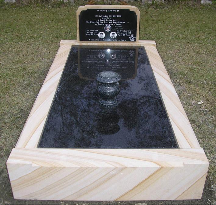 SG01 Sandstone - OG Headstone - Shanxi Black Panel - Northern Black Inlay